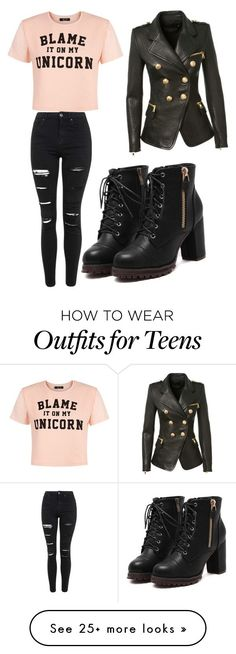"""""""Untitled #141"""" by elizabetiite on Polyvore featuring Topshop, Balmain, women's clothing, women's fashion, women, female, woman, misses and juniors"""