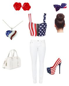 """""""Blue-Red-White"""" by alaysiaaaaaa ❤ liked on Polyvore featuring AG Adriano Goldschmied, Cole Haan and 2b bebe"""