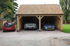 Radnor Oak - The Byton Low-Ridge- Double Garage - Oak Framed Garage - Oak building Porch Timber, Timber Garage, Oak Framed Buildings, Timber Buildings, Garden Buildings, Carport Sheds, Carport Garage, Carport Designs, Garage Design