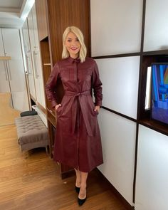 """Holly Willoughby on Instagram: """"Morning Tuesday... need a bit of help on your crystal quest... the gorgeous @your_emmalucy is on the show today... see you on @thismorning…"""" Leather Shirt Dress, Leather Dresses, This Morning Fashion, Holly Willoughby This Morning, Tv Presenters, Beautiful Women, Stylish, Coat, Sexy"""