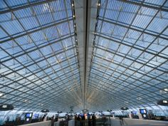 Glass Ceiling Interior of Charles de Gaulle International Airport, Paris, France…