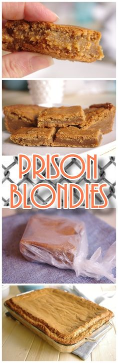 Prison Blondies Blonde Brownies Cookie Bars Dessert Recipe - SO worth a felony - Ooey, Gooey and caramelly delish! But really - how about just make them at home instead!
