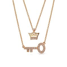 $29.99 Bling Jewelry Rose Gold Plated Silver CZ Princess Crown Key Pendant Necklace Set