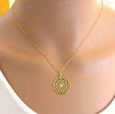 Gold Mandala-Collier neues Zeitalter Halskette von Salshelima