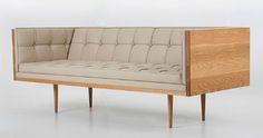 Autoban Box Medium Sofa shown in Danish oiled oak and leather