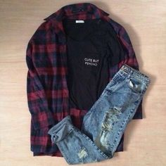 23 Awesome Grunge Outfits Ideas for Women - Dark Shirt - Ideas of Dark Shirt - Grunge outfit idea Dark flannel patterned shirt ripped blue jeans black T Grunge Outfits, Tumblr Outfits, Grunge Fashion, Jean Outfits, Teen Fashion, Casual Outfits, Fashion Outfits, Latest Fashion, Outfits 2014