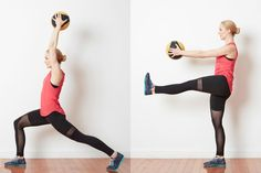 Low Impact Medicine Ball Circuit Workout: Straight Leg Kicks With a Med Ball
