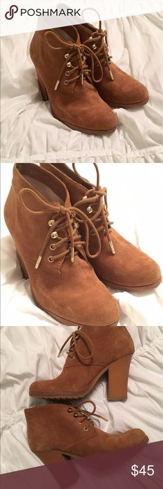 Michael Kors Booties Light brown suede, very clean and suede is not damaged, inside is clean and brand is easy to read/see, only worn a few times, lace up is super cute, gold accents MICHAEL Michael Kors Shoes Ankle Boots & Booties