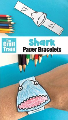 Make a printable shark paper bracelet – simply print, cut out, colour and glue together. This is a fun and easy shark themed craft kids will love, perfect for Summer or learning more about ocean animals. Includes some fascinating shark facts for kids | Ocean crafts for kids #sharks #sharkcraft #sharkprintable #paperbracelet #papercraft #funkidscrafts #kidsactivities #thecrafttrain #freeprintablesforkids Craft Kids, Craft Free, Paper Crafts For Kids, Easy Crafts For Kids, Craft Activities For Kids, Toddler Crafts, Activity Ideas, Summer Crafts, Classroom Activities