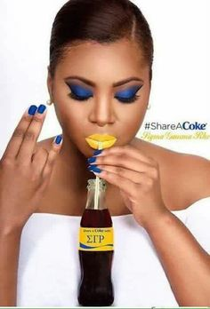 Share a Coke with Sigma Gamma Rho Royal Blue And Gold, Blue Gold, Divine Nine, Scrapbook Cover, Gold Everything, Sigma Gamma Rho, Dark Skin Beauty, Sorority Life, Sorority And Fraternity