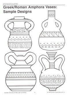 Resultado de imagem para vasos gregos para colorir