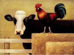 reproduction oil painting  Lowell Herrero Abstract canvas painting,Contemporary Art ,Cattle and chickens Canvas modern painting $90.46