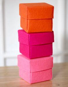 Cómo hacer cajas de fieltro #box #caixes #feltre