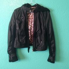 Black Leather Jacket Lightly worn. Very good condition. Detachable hood. Urban Outfitters Jackets & Coats