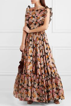 Shop on-sale Ruffled floral-print silk gown. Browse other discount designer Gowns & more luxury fashion pieces at THE OUTNET SEE DETAILS Floral Mesh Dress, Floral Print Gowns, Printed Gowns, Floral Skater Dress, Floral Dress Outfits, Indian Gowns Dresses, Pink Gowns, Maxi Dresses, Long Gown Dress