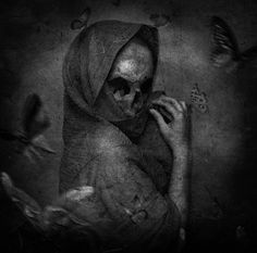 """Sweet Disguise"" by Morten Skau Naess aka diablozz @ deviantart ☠️ Skeleton Art, Demon Art, The Grim, Grim Reaper, Skull And Bones, Memento Mori, Skull Art, Dark Art, Fantasy Art"