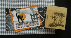 RARE Stampin up stamp CREEPY BIRCH TREE HAUNTED FOREST for Halloween cards & tag