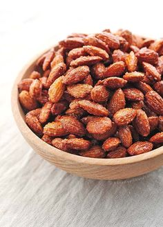 Candied Almonds are a sweet and simple healthy snack of roasted almonds with honey and cinnamon.