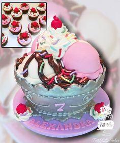 Ice Cream Sundae Cake on Cake Central Fondant Cakes, Cupcake Cakes, Cupcakes, Smash Cakes, Dog Cakes, Cake Fondant, Fondant Figures, Cream Candy, Chocolate Fondant