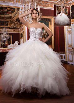 Attractive  Ball Gown Sweetheart  Floor-length Beaded Ruffles #Wedding Dress  www.finditforweddings.com