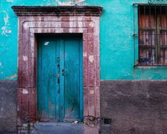 Mexico door and window - San Miguel de Allende Mexican house wall teal turquoise blue vintage weathered blue - Ravishing Doors 2 - lat0002.  Etsy