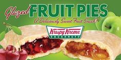 Glazed Cherry Pie- A cherry lover's dream.  Just like the good old days and a great crust topped with the famous Krispy Kreme Glaze. Glazed Apple Pie- Real Fruit Filling and a crust topped with the famous Krispy Kreme Glaze.