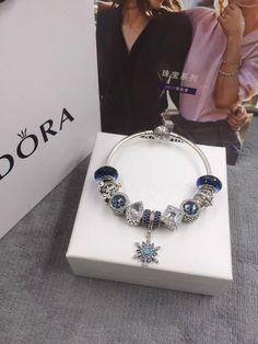 Pandora blue&snow theme charm bracelet 9pcs charms