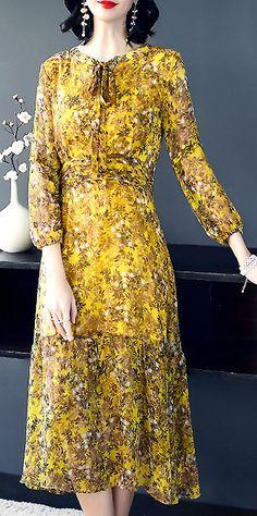 Casual O-Neck Long Puff Sleeve Floral Print Maxi Dress