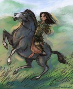 Excellent fan art of warrior Mulan. Disney Princess Art, Disney Fan Art, Disney Love, Disney Magic, Disney Artwork, Disney And Dreamworks, Disney Pixar, Walt Disney, Disney Characters