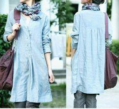 Free Style plissé robe lin bleu clair / de toute taille / 33 couleurs / RAMIES