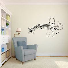 Music Notes Flowing Wall Decal Vinyl Wall Art Decal by danadecals