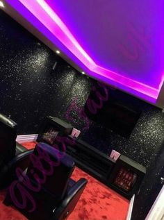 Home cinema room with black glitter wallpaper love this!!! | @kwxx