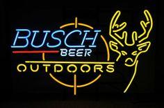 Huge Neon Sign Busch Beer Budweiser Bud Outdoors Deer Hunting Bar on Metal Grid   eBay