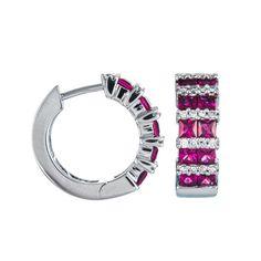 Ruby & Diamond Small Hoop Earrings in White Gold (EFFY1 1069521)