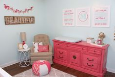 Craigslist Dresser Hand-Painted in Rose Pink - this is such a fab focal point in this #nursery!
