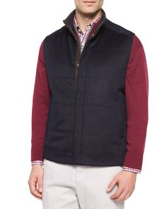 Devon Wool-Blend Quilted Vest, Navy