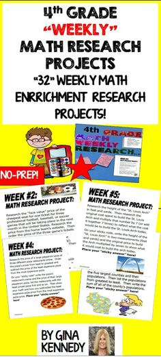 4th Grade Math Enrichment Research Projects for the Entire Year, 32 weeks! Projects range from calculating ticket prices, the cost to build the St. Louis Arch, to how many pencils come from one tree and so much more! Great for early finishers, advanced learners and whole class fun. No teacher prep, great rigor and perfect math skills/technology integration! Print and go math enrichment!$