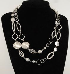 """48"""" Silver Ep Necklace w/ Hammered & Geometric Shape Links"""