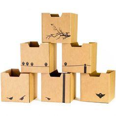 Bird Print Cardboard Cubby Bin