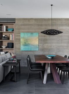 Loving the sophistication of the David Trubridge 'Flax' light in the black stain in this home. NORTH BONDI - Hare & Klein
