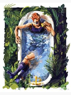 'Good Omens - Bath with the Rubber Duck - Print ' Photographic Print by IcyTwaine Michael Sheen, Fanart, Angel Y Diablo, Good Omens Book, Neil Gaiman, Wow Art, Angels And Demons, Film Serie, Crowley