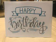 Handlettering – – Birthday Presents Handmade Birthday Cards, Happy Birthday Cards, Birthday Greeting Cards, Happy Birthday Drawings, Birthday Card Drawing, Handlettering Happy Birthday, Tarjetas Diy, Calligraphy Cards, Karten Diy