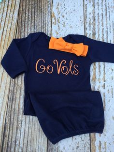 Monogrammed gown and knot headband, monogram baby girl coming home outfit, Tennessee Vols, sleeper layette