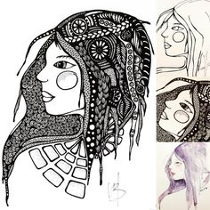 Hoe zou die prachtige dromerige vrouw eruit zien als ik haar teken? Hoe wil ze op mijn papier verschijnen? Inspiratiebron: Christine R.…