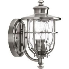 Progress Lighting Beacon Collection Stainless Steel Outdoor Wall-Mount Lantern at The Home Depot - Mobile Outdoor Wall Mounted Lighting, Outdoor Hanging Lanterns, Outdoor Light Fixtures, Outdoor Wall Lantern, Porch Lighting, Exterior Lighting, Outdoor Walls, Outdoor Lighting, Indoor Outdoor