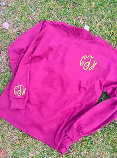 Preppy Glitter Monogram Long Sleeve T-Shirt by ThreeTeesBoutique