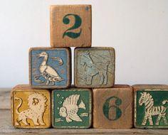 Vintage Mid Century Wood Block Set Vintage Childrens by 5gardenias, $28.00