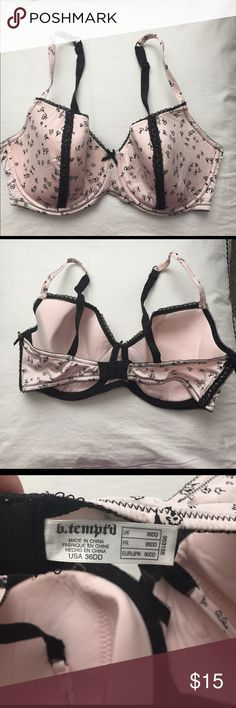 B. Tempt'd by Wacoal pink 36 DD bra. Cute pink and black 36 DD bra by Wacoal's b. tempt'd line. Has cute black flowers and mini bow ties on the side. Wacoal Intimates & Sleepwear Bras
