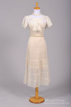 1930 Organdy Tea Style Vintage Wedding Dress : Mill Crest Vintage