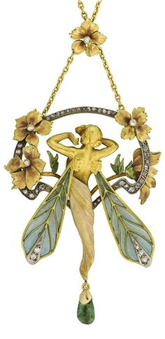 An enamel, emerald and diamond pendant, the pendant designed as a winged nymph framed by floral motifs, applied with pearlescent and plique-à-jour enamel, suspending a polished emerald, accented with circular-, single-cut and rose diamonds, to a fine link chain, length approximately 435mm, signed Masriera Y Carrera.